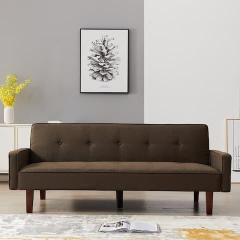 KINWELL 75-inch Modern Square Arm Futon Sleeper Sofa
