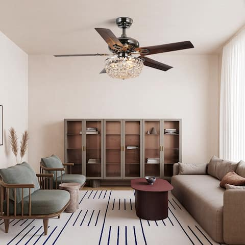 48-inch 5-blade crystal ceiling fan including remote control - 48w*48d*16h