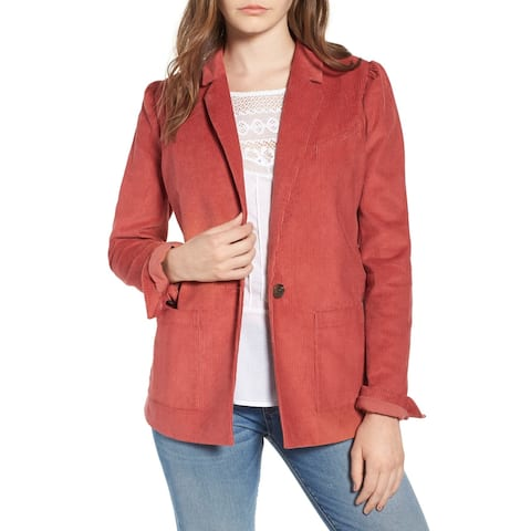 Hinge Cedar Womens Cotton Notch Lapel Corduroy Blazer