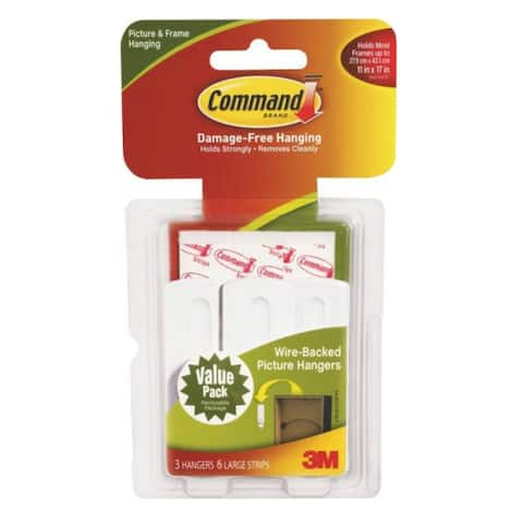 Command 17043 Wire-Backed Picture Hanger, White