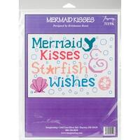 """Mermaid Kisses Counted Cross Stitch Kit-9""""X6.5"""" 14 Count"""