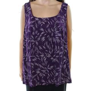 Alex Evenings NEW Purple Women's Size 3X Plus Glitter Twinset Sweater
