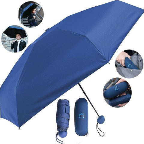 Travella Compact Waterproof Windproof Sunproof UV Safe Zipper Pouch Umbrella Water Wipes Clean, Blue