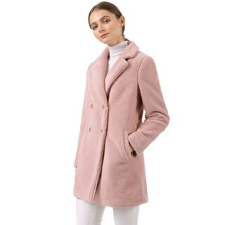 Women's Double Breasted Notched Lapel Plush Coat - Pink