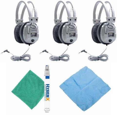 Hamilton Buhl SC-7V Schoolmate Headphones (3-Pack) w/ Accessory Bundle