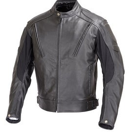 Men Motorcycle Biker Vented Leather Jacket Armor Black MBJ007