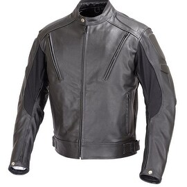 Men Motorcycle Biker Vented Leather Jacket Armor Black MBJ007