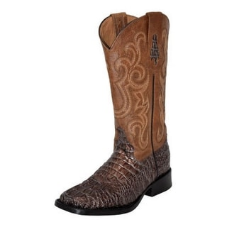 Ferrini Western Boots Women Caiman Print Square Lined Block Heel 90393