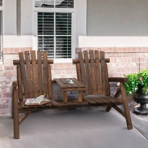 Outsunny Wood Adirondack Patio Chair Bench with Center Coffee Table, Perfect for Lounging and Relaxing Outdoors
