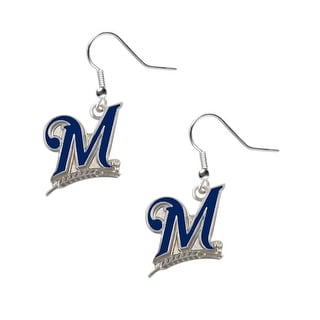 "Milwaukee Brewers ""M"" Dangle Logo Earring Set MLB Charm Gift"