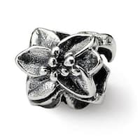 Sterling Silver Reflections Plumeria Floral Bead (4mm Diameter Hole)