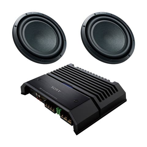 "Sony XM-GS100 GS-Series 600-Watt Monoblock Subwoofer Amplifier with pair of XS-GSW121D GS-Series 12"" 4-Ohm Dual Voice Co - Black"