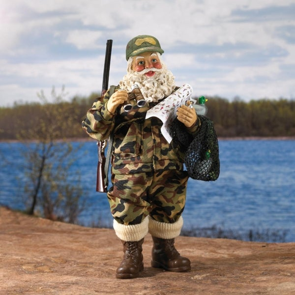 "12"" Fabriche Duck Hunting Santa Claus in Camouflage with Gun Christmas Table Top Decoration - green"