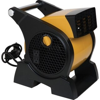 Lasko 4900 Pro-Performance High Velocity Utility Fan with Integrated Power Outlets - black/yellow