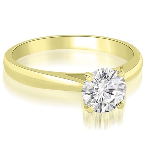 1.00 cttw. 14K Yellow Gold Cathedral Solitaire Round Cut Diamond Engagement Ring