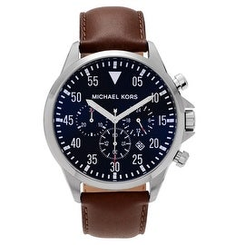 Michael Kors Men's MK8362 'Gage' Blue Dial Chronograph Leather Strap Watch
