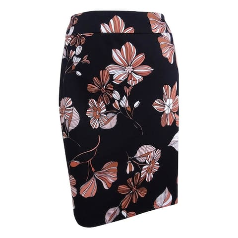 Nine West Women's Plus Size Printed Pencil Skirt - Black/Copper Multi