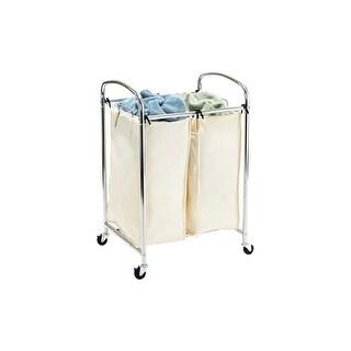 Seville Classics Mobile 2-Bag Heavy-Duty Laundry Hamper Sorter Cart