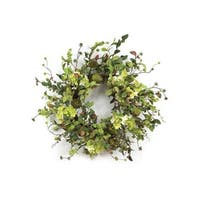 "Pack of 2 Coral Blossom Artificial Pear, Hydrangea & Berry Wreaths 26"" - Green"