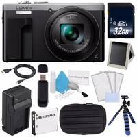 Panasonic LUMIX 4K DMC-ZS60 Digital Camera (Silver) (International Model) No Warranty + Small Case + Charger + 32GB Card Bundle