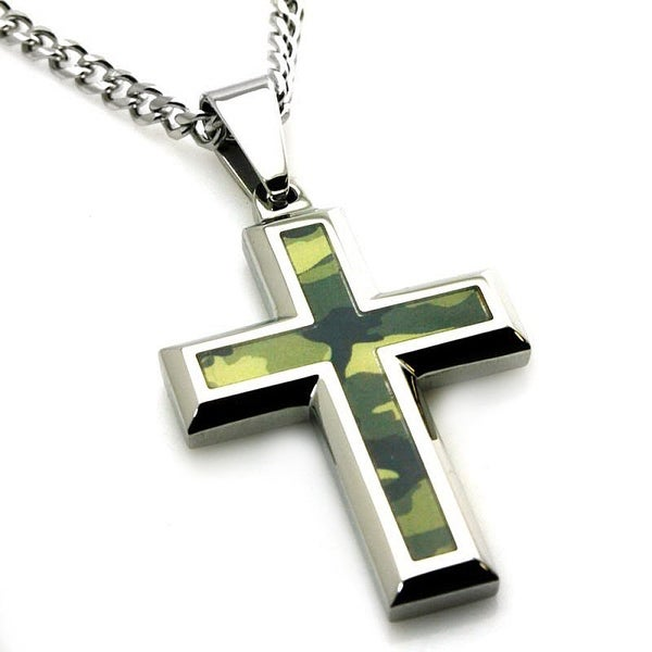 Stainless Steel Earth Green Camouflage Cross Pendant - 24 inches