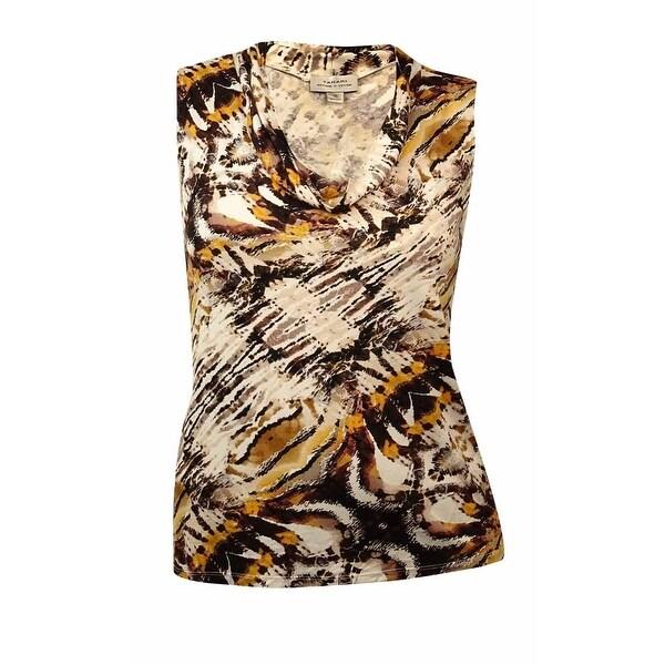Tahari Women's Sleeveless Animal Print Cowl Neck Jersey Blouse - Ivory/Brown