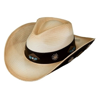 Outback Trading Hat Womens Sedona Straw Bead Wide Band Tea 15118