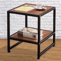 Costway Side Sofa End Table Square Coffee Tea Stand Living Room Decor W/Bottom Shelf