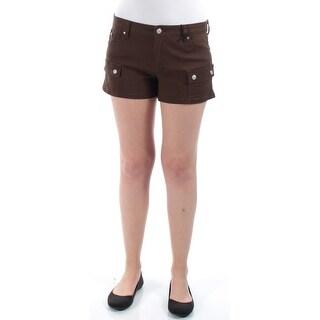 CELEBRITY PINK Womens New 1293 Brown Straight Leg, Cropped Short Juniors 9 B+B