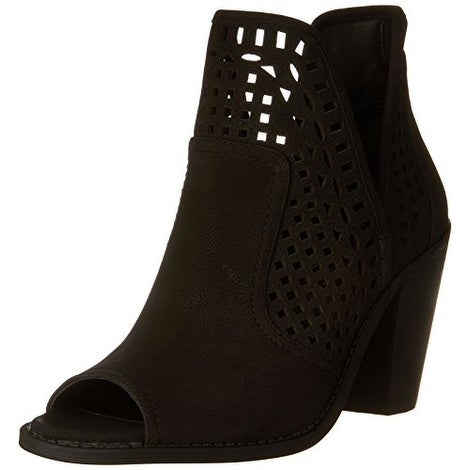 Jessica Simpson Womens Cherrell Leather Peep Toe Ankle Fashion Boots