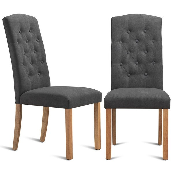 Shop Gymax Set of 2 Dining Side Chairs Upholstered Fabric ...
