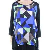Alfani Black Green Women's Medium M Geo-Print Scoop Neck Sweater