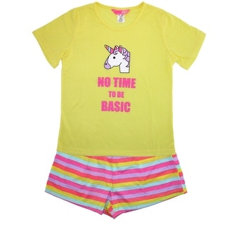 Katnap Kids Girl's Rainbow Unicorn Tee and Short Pajama Set - Yellow