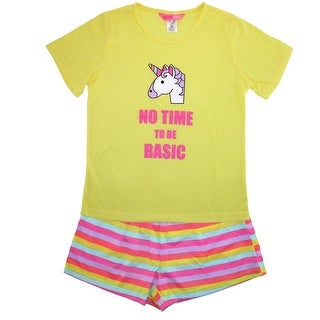 Katnap Kids Girl's Rainbow Unicorn Tee and Short Pajama Set