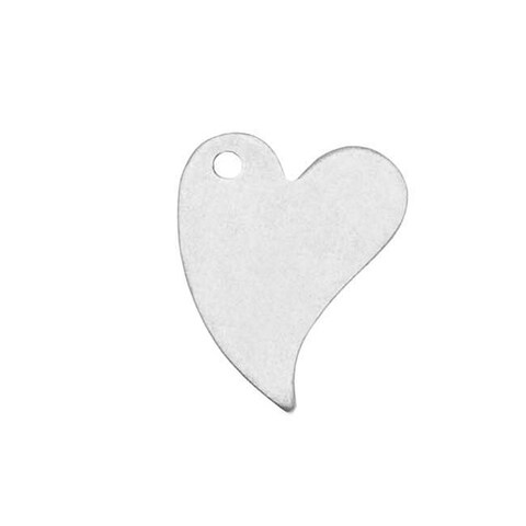 Sterling Silver Blank Stampings Long Heart Charms 12x9mm (2)