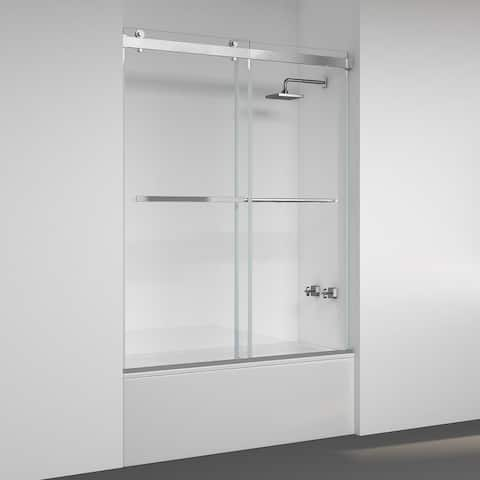 "Spezia 60"" W x 58"" H Sliding Frameless Tub Door in Brushed Nickel - 60"" W x 58"" H"