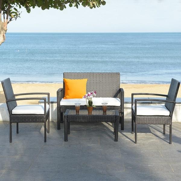 4 pcs Patio Rattan Table Chair Set Cushioned Seat Gargen Furniture