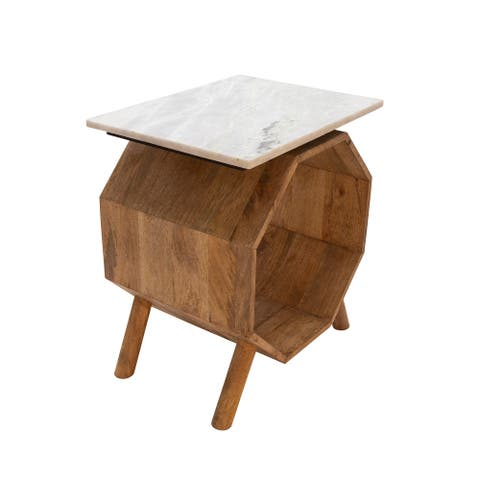 Wood/Marble Hexagon Side Table, Brown
