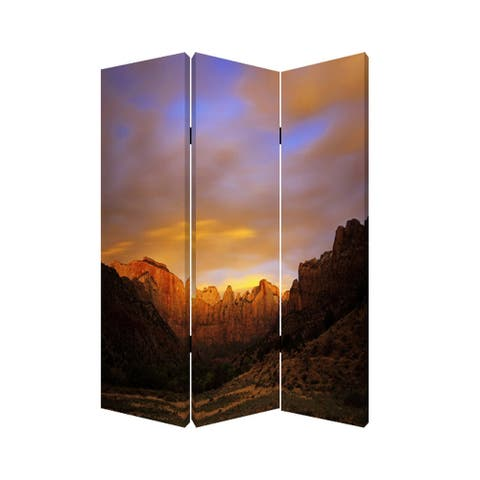 Sunset Plateau Print Foldable Canvas Screen with 3 Panels, Multicolor