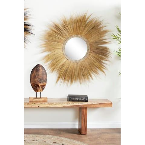 Dried Plant Material Bohemian Wall Mirror - 45 x 2 x 45Round