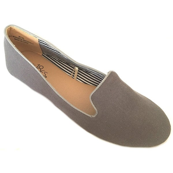 Shoes8teen Womens Faux Suede Loafer Smoking Shoes Flats 3, 102a Grey, Size 7.0