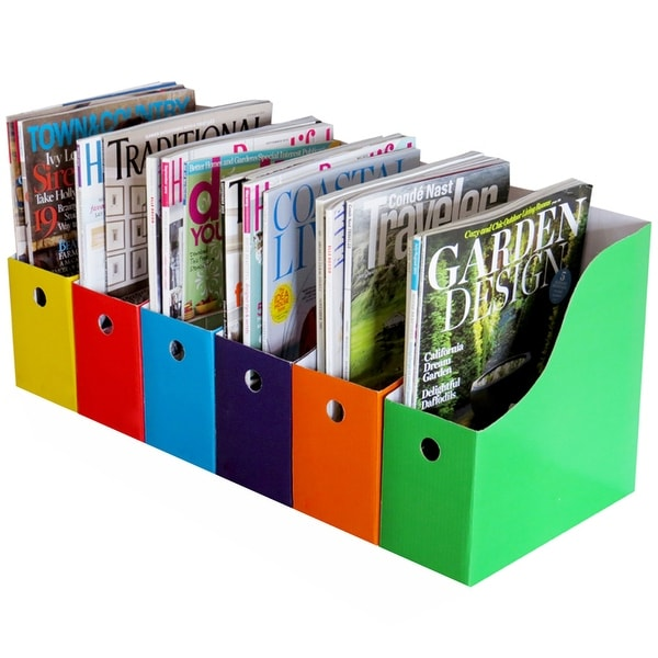 Evelots Magazine File Holder-Organizer-Full 4 Inch Wide-6 Colors-W/Labels-Set/6. Opens flyout.