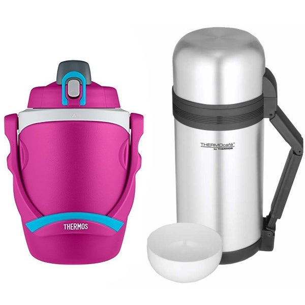 4587074a Thermos 64-Oz. Foam Insulated Bottle (Pink) w/ 1.3-qt. Food & Beverage  Bottle