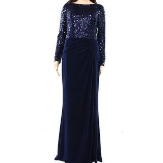 Lauren By Ralph Lauren NEW Blue Navy Womens Size 6 Sequin Ruched Gown
