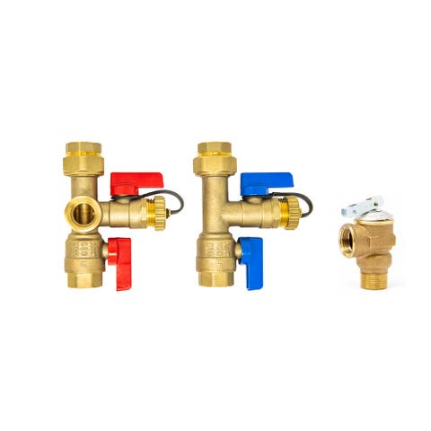 3/4 inch Tankless Water Heater Isolation Service Valve Kit w/Pressure Relief Valve, FNPT x FNPT, for Rheem, Rinai, Eccotemp