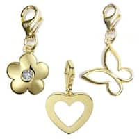 Julieta Jewelry Heart, Round Flower, Butterfly 14k Gold Over Sterling Silver Clip-On Charm Set