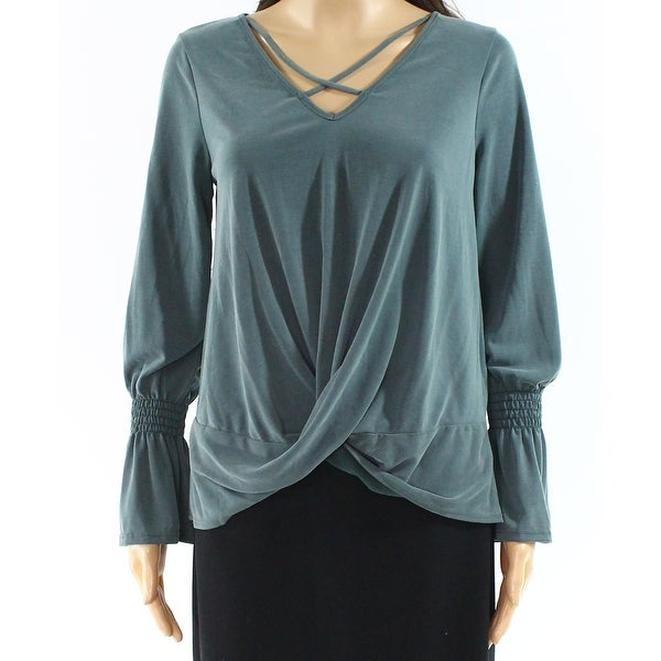 Moa Moa Green Womens Size Small S Cutout V-Neck Long Sleeve Top