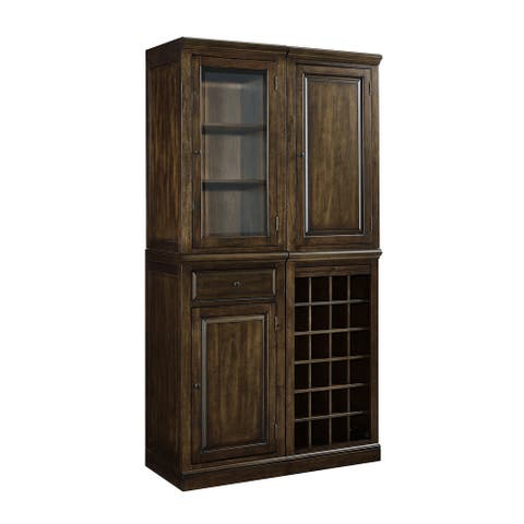 3-door 1-drawer Rich Cherry-finished Wood and Glass Wine Storage Cabinet