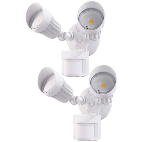 2 Pack 2 Head LED Outdoor Security Floodlight, Motion Sensor Light, White