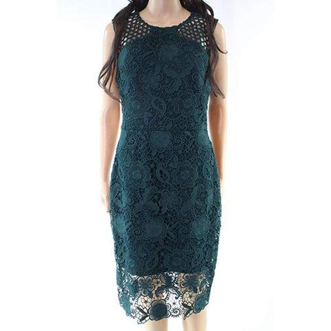Vera Wang Women's Crepe Lace Overlay Cocktail Dress, Hunter/Green, 6